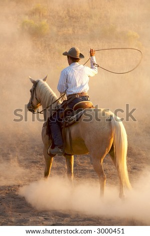 Cow getting ready to lasso a horse - stock photo