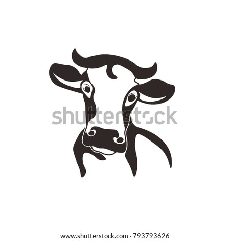 cow head cattle silhouette milk beef farm animal nature