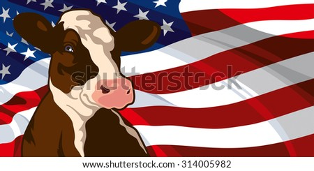 Cow on a background of flag of the United States of America