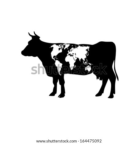 Cow patterned map of the world. Raster - stock photo