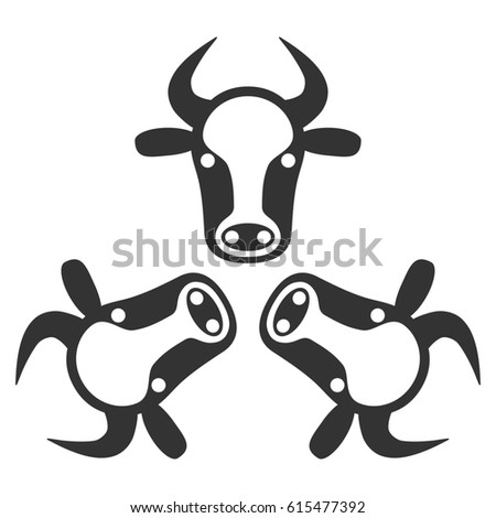 Cow Trinity raster icon. Flat gray symbol. Pictogram is isolated on a white background. Designed for web and software interfaces.