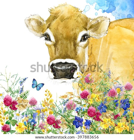 Cow. Watercolor Cow illustration. field flower watercolor background. cow on meadow. - stock photo