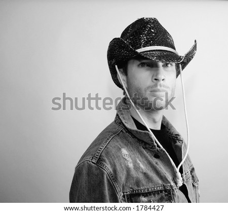 Cowboy b&W - stock photo