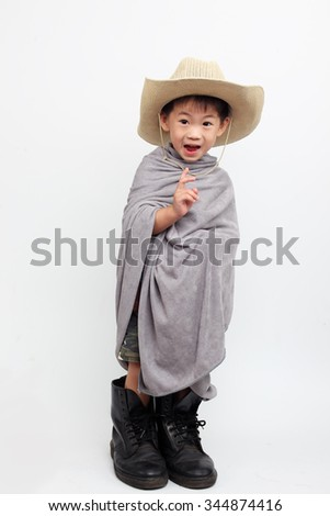 cowboy baby on white background.