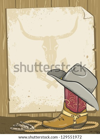 Cowboy background with boot and paper.Raster - stock photo