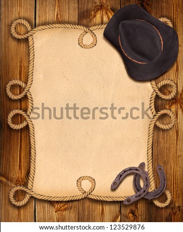cowboy background with rope frame and western clothes for design - stock photo