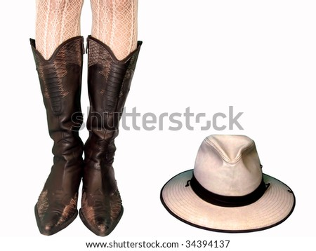 Cowboy Boots&hat - stock photo