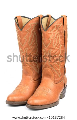 Cowboy boots, isolated - stock photo