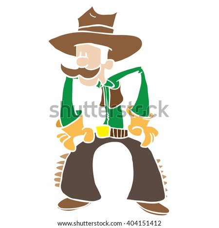 cowboy cartoon - stock photo