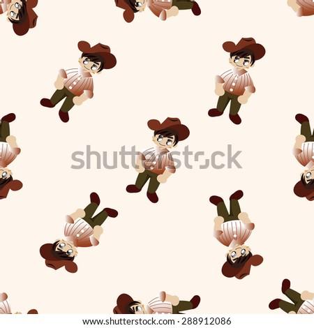 Cowboy Cartoon Seamless Pattern Background Stock Vector ...