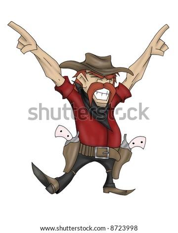 cowboy character image - stock photo