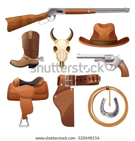 Cowboy elements set with saddle hat horseshoe skull isolated  illustration - stock photo