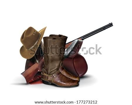 Cowboy Equipment over White - stock photo