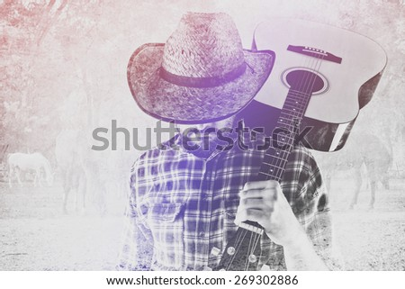 Cowboy Farmer with Acoustic Blues Guitar and Straw Hat on Western American Horse Ranch, Double Exposure Image. - stock photo
