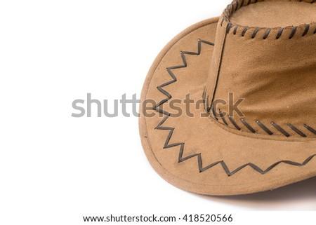 cowboy hat closeup on a white background. - stock photo