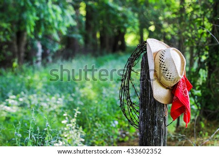 Cowboy hat with red bandanna and barbed wire hanging on antique rustic wooden fence post with grassy road blurred in background - stock photo
