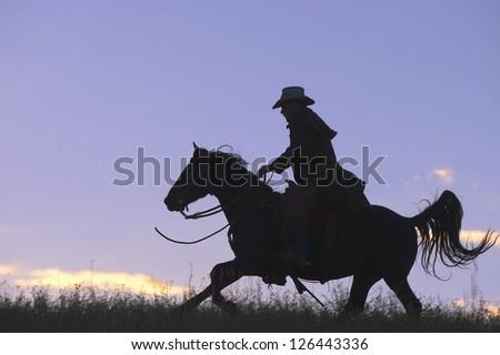 Cowboy  horseback riding against early sky - stock photo