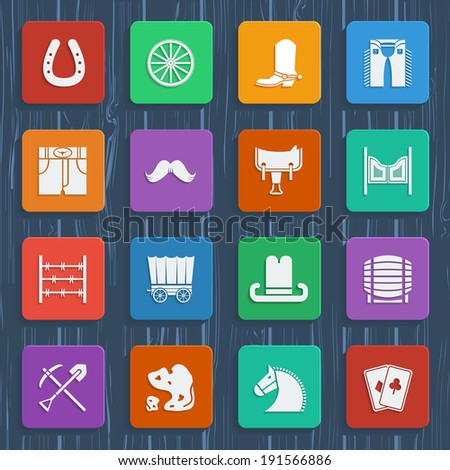 Cowboy icons.Western pictograms in flat style design.Raster - stock photo