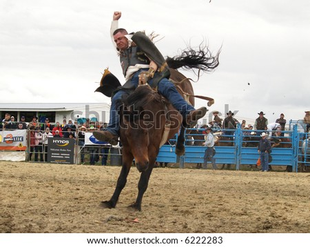 Cowboy in action - stock photo