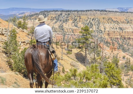 Cowboy in Bryce Canyon national park (USA) - stock photo