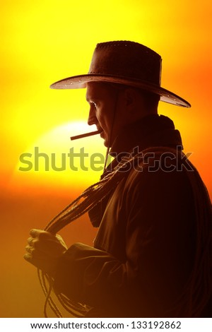 cowboy in hat with cigar and lasso silhouette - stock photo