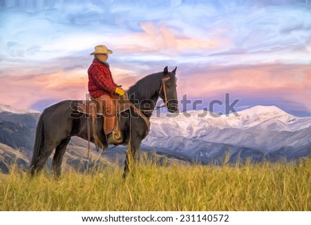 Cowboy on horseback at first light, oil painting - stock photo