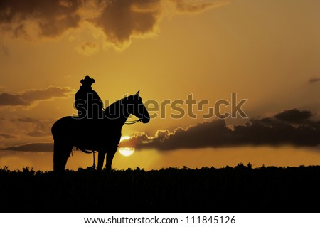 Cowboy, on horseback,silhouetted against the setting sun - stock photo