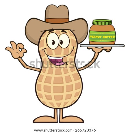 Cowboy Peanut Cartoon Character Holding A Jar Of Peanut Butter. Raster Illustration Isolated On White - stock photo
