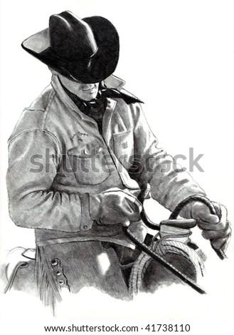 Cowboy Pencil Drawing - stock photo