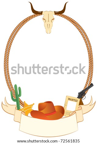 Cowboy poster background for design with cowboy elements.Vector - stock photo
