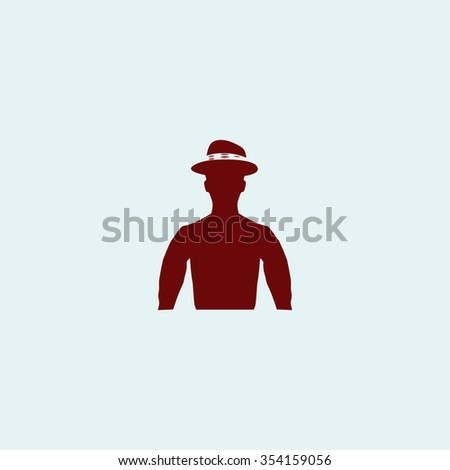 Cowboy Red flat icon. Simple illustration pictogram - stock photo