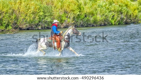 Cowboy riding paint horse in Montana river,digital oil painting