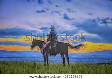 Cowboy silhouette, digital oil painting - stock photo