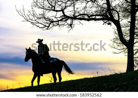 Cowboy sitting on horse at sundown - stock photo