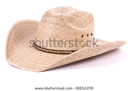 Cowboy stetson straw hat isolated on white. - stock photo