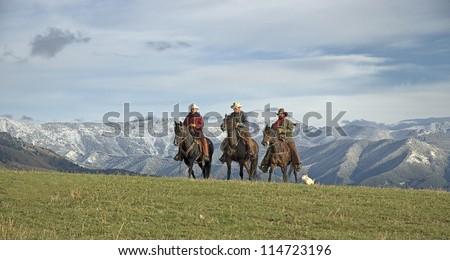 Cowboys on the range, Montana horse ranch - stock photo