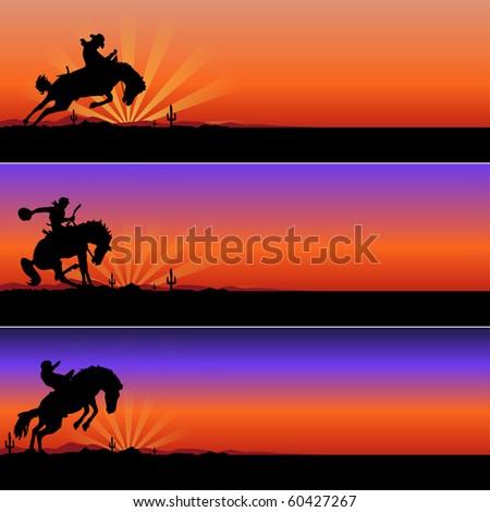cowboys riding horses in desert illustration - stock photo