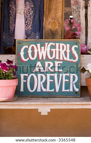 Cowgirl Sign - stock photo