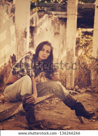 Cowgirl. Vintage styled female portrait - stock photo