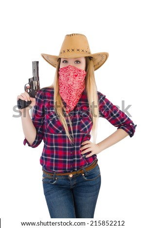 Cowgirl woman with gun isolated on white - stock photo