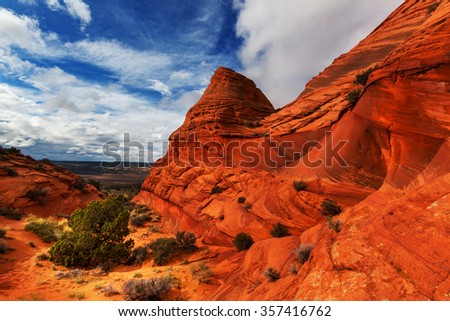 Coyote Buttes of the Vermillion Cliffs Wilderness Area, Utah and Arizona - stock photo