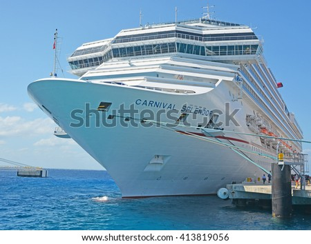 COZUMEL, MEXICO - APRIL 10, 2016: Big docked cruise liners