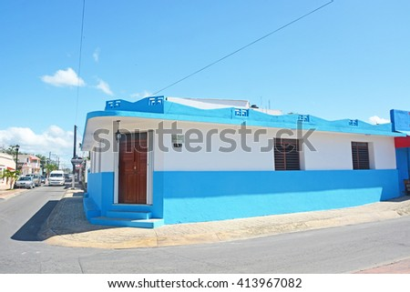 COZUMEL, MEXICO - APRIL 10, 2016: Streets of a Cozumel island, Mexico