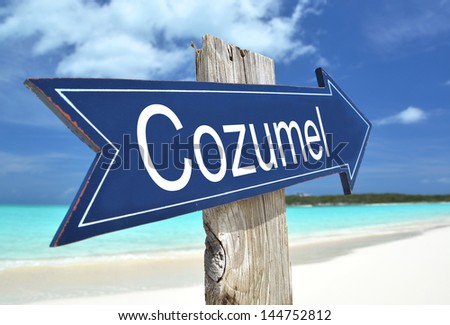 Cozumel sign on the beach - stock photo
