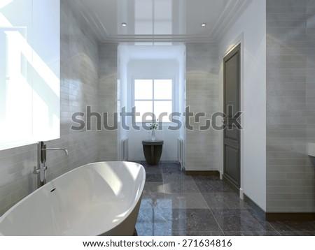 Cozy bathroom art deco style - stock photo