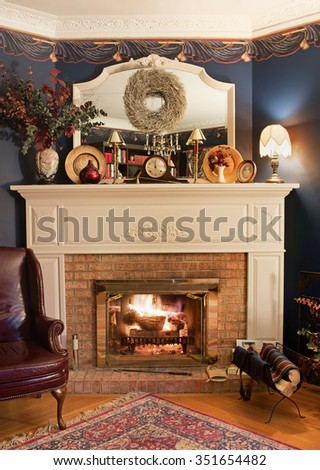 Cozy Corner Fireplace, HDR - stock photo