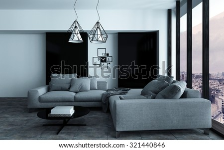 Cozy corner in a modern sitting room or living room interior with grey sofas against a wall with black accents in front of a large view window. 3d Rendering. - stock photo