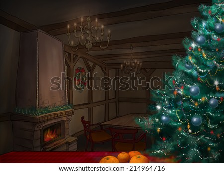 Cozy fabulous room at night, decorated Christmas tree. Christmas room.Fireplace.New Year. - stock photo