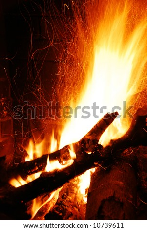 cozy fire - stock photo
