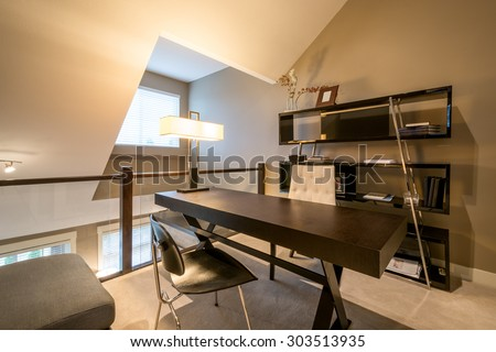 Cozy Home Office Desk Bookcase Chaise Stock Photo Royalty Free